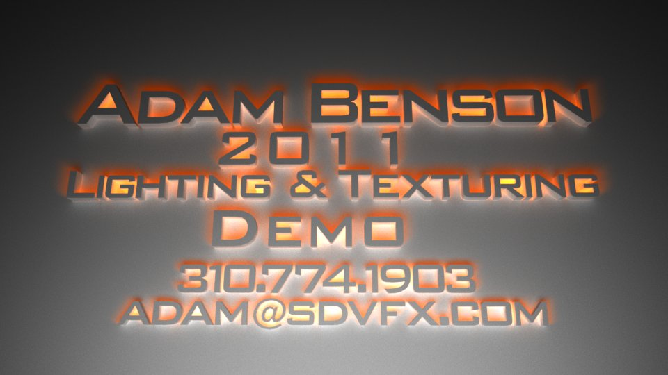 Adam Benson 2011 Lighting & Texturing Demo